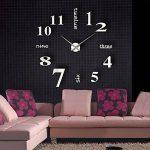 MFEIR® amovible Horloge murale Pendules murales moderne mur Loisirs grosse montre Décoration Stickers Effet Miroir Verre acrylique Décoration,noir de la marque MFEIR image 3 produit