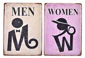 MGJJ Rétro en Relief en métal Tin Signs Bar Pub Home décoratifs plaques Homme Femme Sticker Mural publicitaire Fer Peinture 3020cm 2pcs de la marque MGJJ image 0 produit