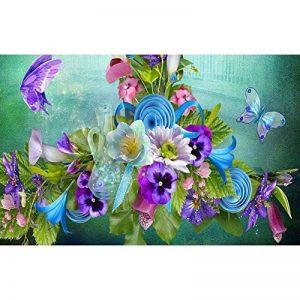Mikolotuk 5D Peinture au Diamant DIY Salon Chambre Décoration Autocollant Mural Fleurs et Papillons 40 * 30 CM de la marque Mikolotuk image 0 produit