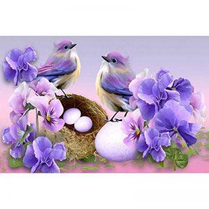 Mikolotuk 5D Peinture au Diamant DIY Salon Chambre Décoration Autocollant Mural Oiseaux et Fleurs 40 * 30 CM de la marque Mikolotuk image 0 produit