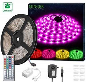 Minger Kit de Ruban à LED Etanche 5M 5050 RGB SMD Multicolore Bande LED Lumineuse avec Télécommande à Infrarouge 44 Touches et Alimentation 12V de la marque Govee image 0 produit