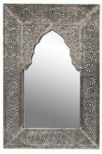 Miroir mural rectangulaire marocain argenté Malik 42cm grand   Miroirs muraux cadre en bois recouvert de laiton en Design oriental   Décoration murale orientale dans la Chambre salle de bain ou Salon de la marque Marrakesch Orient & Mediterran Interior image 0 produit