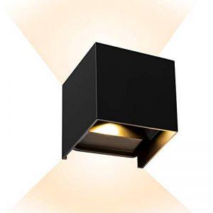 MixMart LED Applique Murale 12W Extérieur/Intérieur IP65 Étanche Lampe de Mur Moderne Lumière Réglable 2900-3200k Blanc Chaud pour Chambre Maison Couloir Salon Escalier (Noir) de la marque MixMart image 0 produit