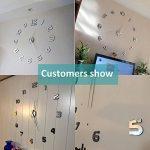Modern Mute DIY Frameless Grande horloge murale 3D Mirror Sticker Metal Big Watches Décorations de Home Office-2 ans de garantie (argenté-42) de la marque VANGOLD image 1 produit
