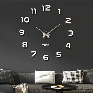 Modern Mute DIY Frameless Grande horloge murale 3D Mirror Sticker Metal Big Watches Décorations de Home Office-2 ans de garantie (argenté-42) de la marque VANGOLD image 0 produit