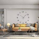 Modern Mute DIY Frameless Grande horloge murale 3D Mirror Sticker Metal Big Watches Décorations de Home Office-2 ans de garantie (argenté-42) de la marque VANGOLD image 2 produit
