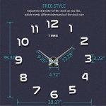 Modern Mute DIY Frameless Grande horloge murale 3D Mirror Sticker Metal Big Watches Décorations de Home Office-2 ans de garantie (argenté-42) de la marque VANGOLD image 3 produit