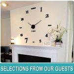 Moderne Mute Grande horloge murale 3d Noir Stickers muraux de cuisine Home Décoration murale à coller soi même, Aluminium, noir, 130 cm L X 70 cm W de la marque GUFAN image 1 produit