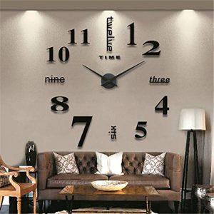 Moderne Mute Grande horloge murale 3d Noir Stickers muraux de cuisine Home Décoration murale à coller soi même, Aluminium, noir, 130 cm L X 70 cm W de la marque GUFAN image 0 produit