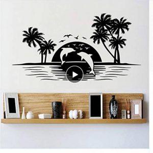 Mrhxly Art Design Dauphins Au Coucher Du Soleil Wall Sticker Pas Cher À La Maison Décoration Vinyle Animaux Oiseaux Vinyle Maison Décor Paysages Decal 110 * 58 Cm de la marque mrhxly image 0 produit