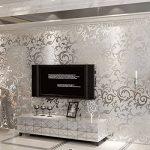 MultiWare Papier Peint 10M Papier Adhésif 3D Mural Autocollant Amovible Décoration Murale Rouleau Papier Peint Damasse pour Chambre TV Decoration Argent de la marque MultiWare image 4 produit