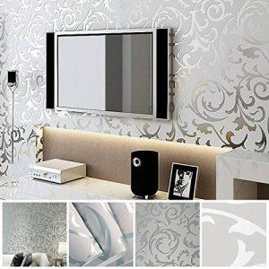 MultiWare Papier Peint 10M Papier Adhésif 3D Mural Autocollant Amovible Décoration Murale Rouleau Papier Peint Damasse pour Chambre TV Decoration Argent de la marque MultiWare image 0 produit