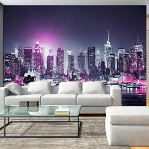 murando – Papier peint intissé 350x256 cm – Papier peint – Trompe l oeil – Tableaux muraux déco XXL – New York City ville NY Manhattan nuit Panorama highrise gratte-ciel d-C-0012-a-d de la marque Papier-peint image 0 produit