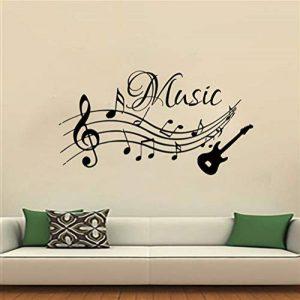 Notes de musique Musique Stickers Muraux PVC Amovible Salon Décor À La Maison Guitare Stickers Muraux 44x69CM de la marque scldream image 0 produit
