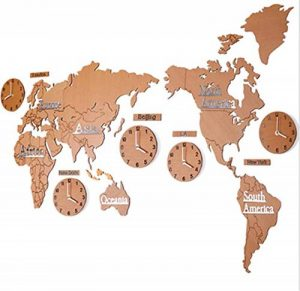 Ommda Horloge Murale Stickers Geante 3D Carte du Monde Bois Silencieuse Chambre Salon Cuisine Design Chat Pendules Murale Décor Marron 180cm de la marque Ommda image 0 produit