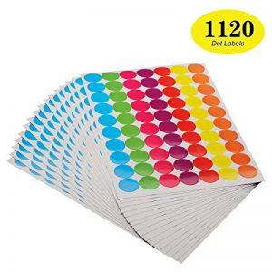 Onupgo Lot de 11202,5cm Round Dot Stickers Diamètre ronds Code couleur Cercle Dot étiquettes Autocollant onglet étiquettes, lumineux Couleurs assorties de la marque OnUpgo image 0 produit