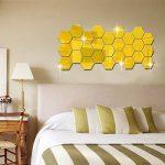 or stickers muraux maison hexagonale 3d art combinaison modèle acrylique pour diy salon lit d'or 10 * 10cm de la marque AUTULET image 4 produit