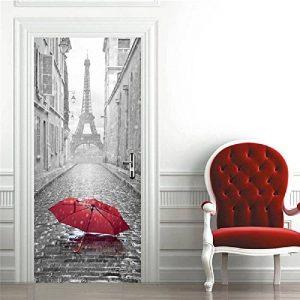 OuYou 3D Sticker de Porte Parapluie Tour Eiffel Trompe l'oeil PVC Imperméable pour Chambre Salle de Bain Cuisine Décoration 77x200cm de la marque OuYou image 0 produit
