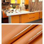 Papier de vinyle auto-adhésif de papier de contact PVC de papier peint collant arrière autocollants durables de cuisine Table de mur de meubles de placard imperméable Perle orange bâton 30cm * 3m DIY de la marque MEIBAN image 3 produit