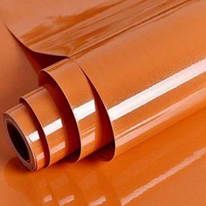 Papier de vinyle auto-adhésif de papier de contact PVC de papier peint collant arrière autocollants durables de cuisine Table de mur de meubles de placard imperméable Perle orange bâton 30cm * 3m DIY de la marque MEIBAN image 0 produit