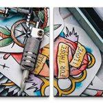 Paul Sinus Art GmbH Tatouage Mural XXL 120 x 60 cm – 2 Stickers muraux de 60 x 60 cm de la marque Paul-Sinus-Art-GmbH image 1 produit