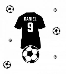 Personnalisé autocollant mural. Nom de l'enfant et maillot de foot Football Sticker mural avec le nom d'un enfant. de la marque Deco-online image 0 produit