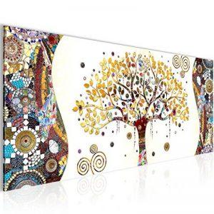 Photo Gustav Klimt - Arbre de vie Décoration Murale 100 x 40 cm Toison - Toile Taille XXL Salon Appartement Décoration Photos d'art Marron 1 parties - 100% MADE IN GERMANY - prêt à accrocher 004612a de la marque Images et Papier peint Runa image 0 produit