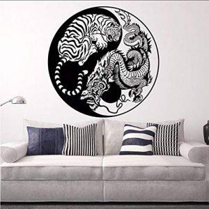 Ponana Stickers Muraux Caché Dragon Tigre Accroupi Vinyle Wall Sticker Mythologie Asiatique Style Affiche Home Decor Yin Yang Vinyle Art 57X57 Cm de la marque ponana image 0 produit