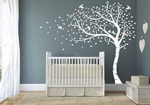 Premium Grand arbre et automne avec feuilles et oiseaux. QUALITÉ Sticker mural en vinyle mat de la marque Designdivil-Wall-Art image 0 produit