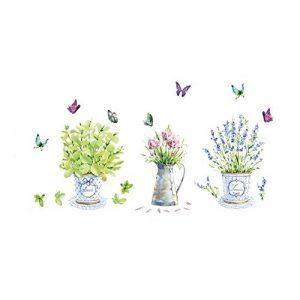 PROKTH Sticker geant mural Decoration chambre Stickers salon Sticker mural cuisine - pour enfants garcon fille - Plante en pot Fleur Vert 1 set de la marque PROKTH image 0 produit