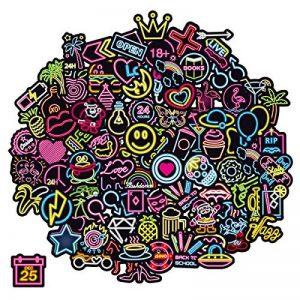 Q-Window Lot Autocollant Graffiti Vinyle Stickers Déco pour Ordinateur Portable, Valises, Enfants, Skateboard, Voiture, Moto, Snowboard, IPhone, Nintendo Bomb (100 Autocollants au néon) de la marque Q-Window image 0 produit