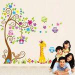 Rainbow Fox Autocollant mural repositionnable pour chambre d'enfant garçon et fille Motif animaux de la jungle et de la forêt 230 x 150 cm de la marque Rainbow-Fox image 3 produit