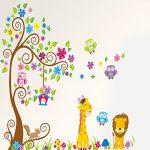 Rainbow Fox Autocollant mural repositionnable pour chambre d'enfant garçon et fille Motif animaux de la jungle et de la forêt 230 x 150 cm de la marque Rainbow-Fox image 4 produit