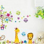 Rainbow Fox Autocollant mural repositionnable pour chambre d'enfant garçon et fille Motif animaux de la jungle et de la forêt 230 x 150 cm de la marque Rainbow-Fox image 1 produit