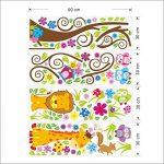 Rainbow Fox Autocollant mural repositionnable pour chambre d'enfant garçon et fille Motif animaux de la jungle et de la forêt 230 x 150 cm de la marque Rainbow-Fox image 2 produit