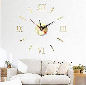 runl mo Horloge Murale Bricolage 3D, Horloge numérique Romaine silencieuse Moderne Miroir sans Cadre Surface Stickers muraux décor à la Maison Chambre (Miroir lumière doré) de la marque runl mo image 0 produit
