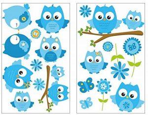 Samunshi® Lot de 19 Stickers muraux pour Chambre d'enfant Motif hiboux sur Branche Bleu, Multicolore, 2X 16x26cm de la marque Samunshi image 0 produit