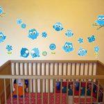 Samunshi® Lot de 19 Stickers muraux pour Chambre d'enfant Motif hiboux sur Branche Bleu, Multicolore, 2X 16x26cm de la marque Samunshi image 1 produit