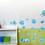 Samunshi® Lot de 19 Stickers muraux pour Chambre d'enfant Motif hiboux sur Branche Bleu, Multicolore, 2X 16x26cm de la marque Samunshi image 2 produit