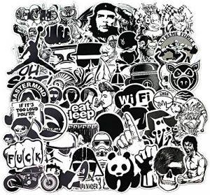 Sanmatic Autocollant Lot Pack [120pcs], Stickers Autocollants Noir et Blanc Vinyle pour Ordinateur Portable, Voitures, Moto, Bicyclette, Bagages Skateboard, Autocollants pour Voiture Bombe Étanche de la marque Sanmatic image 0 produit