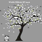 Sayala 3 Pandas Mignons Prune Rouge Fleur Stickers Muraux/Autocollant Arbre mural pour Décorer Chambres d'enfants, Garderie, Chambre Bebe (Blanc) de la marque Sayala image 1 produit