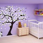 Sayala 3 Pandas Mignons Prune Rouge Fleur Stickers Muraux/Autocollant Arbre mural pour Décorer Chambres d'enfants, Garderie, Chambre Bebe (Blanc) de la marque Sayala image 2 produit