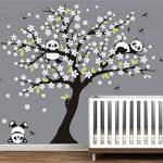 Sayala 3 Pandas Mignons Prune Rouge Fleur Stickers Muraux/Autocollant Arbre mural pour Décorer Chambres d'enfants, Garderie, Chambre Bebe (Blanc) de la marque Sayala image 3 produit