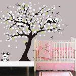 Sayala 3 Pandas Mignons Prune Rouge Fleur Stickers Muraux/Autocollant Arbre mural pour Décorer Chambres d'enfants, Garderie, Chambre Bebe (Blanc) de la marque Sayala image 4 produit
