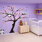 Sayala 3 Pandas Mignons Prune Rouge Fleur Stickers Muraux/Autocollant Arbre mural pour Décorer Chambres d'enfants, Garderie, Chambre Bebe (Rose) de la marque Sayala image 2 produit
