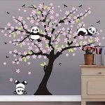 Sayala 3 Pandas Mignons Prune Rouge Fleur Stickers Muraux/Autocollant Arbre mural pour Décorer Chambres d'enfants, Garderie, Chambre Bebe (Rose) de la marque Sayala image 4 produit