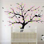 Sayala 3 Pandas Mignons Prune Rouge Fleur Stickers Muraux/Autocollant Arbre mural pour Décorer Chambres d'enfants, Garderie, Chambre Bebe (Rose) de la marque Sayala image 3 produit