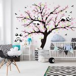 Sayala 3 Pandas Mignons Prune Rouge Fleur Stickers Muraux/Autocollant Arbre mural pour Décorer Chambres d'enfants, Garderie, Chambre Bebe (Rose) de la marque Sayala image 1 produit