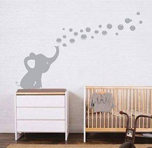 Sayala Sticker Muraux- 1Pcs Éléphant Soufflant des bulles-Sticker Autocollant Adhésif Mural Fenêtre Fleur Papillon Home Chambre Enfants Bébé Garderie Salon (Gris) de la marque Sayala image 0 produit