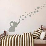 Sayala Sticker Muraux- 1Pcs Éléphant Soufflant des bulles-Sticker Autocollant Adhésif Mural Fenêtre Fleur Papillon Home Chambre Enfants Bébé Garderie Salon (Gris) de la marque Sayala image 2 produit